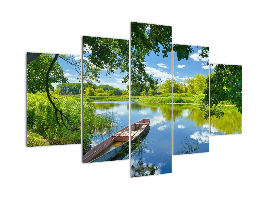 Slika ljetne rijeke s brodicom (V021977V150105)