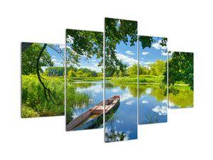 Tablou  cu râu de vară și barcă (V021977V150105)