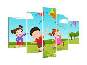 Kép - Sárkányrepülőt éngedő gyermekek (V021994V150105)