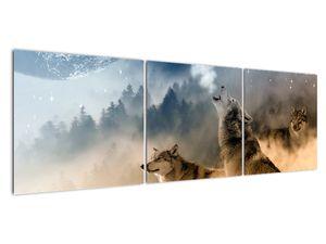 Obraz - vlci vyjící na měsíc (V020509V15050)
