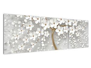 Obraz bílého stromu s květinami (V020977V15050)