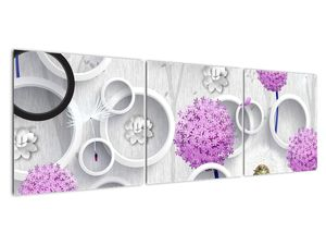 Tablou cu abstracție 3D cu cercuri și flori (V020981V15050)