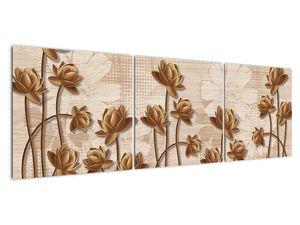Obraz abtrakce květin - hnědá (V021309V15050)