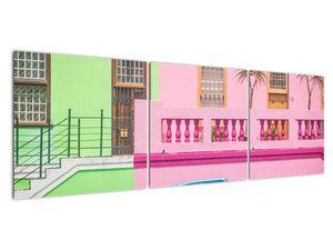 Obraz auta - barevné domy (V021582V15050)