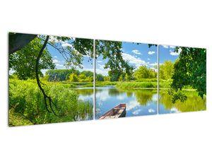 Slika ljetne rijeke s brodicom (V021977V15050)