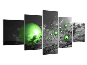 Obraz zelených abstraktních koulí (V020112V150805PCS)
