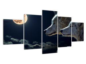 Obraz vlků vyjících na měsíc (V020447V150805PCS)