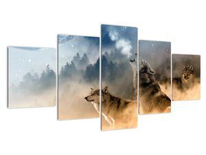 Obraz - vlci vyjící na měsíc (V020509V150805PCS)