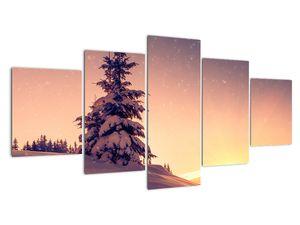 Obraz zasněženého stromu na louce (V020701V150805PCS)