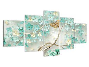 Virágok pillangóval képe (V020716V150805PCS)