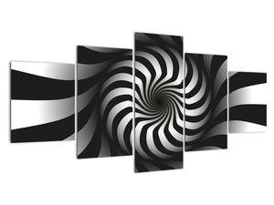Abstraktní obraz černobílé spirály (V020831V150805PCS)