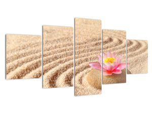Obraz kamene s květinou na písku (V020864V150805PCS)
