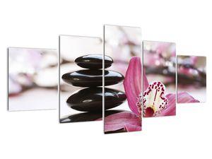Obraz masážních kamenů a orchidee (V020910V150805PCS)