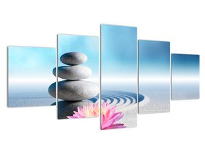 Obraz písku, lilie a spa kamenů (V020945V150805PCS)