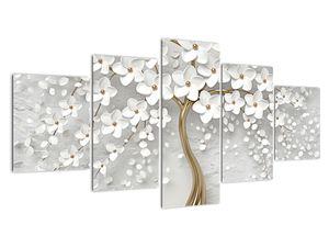 Obraz bílého stromu s květinami (V020977V150805PCS)