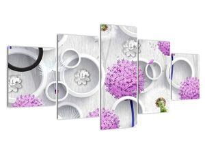 Tablou cu abstracție 3D cu cercuri și flori (V020981V150805PCS)