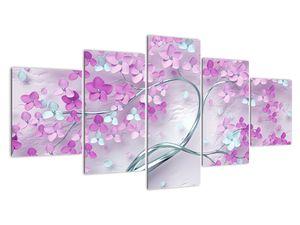 Slika cvetov na srebrnem deblu - abstrakt (V021303V150805PCS)