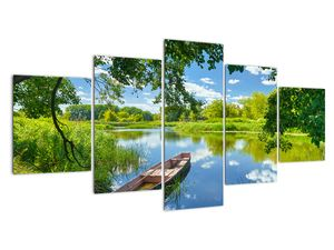 Egy nyári folyó képe hajóval (V021977V150805PCS)
