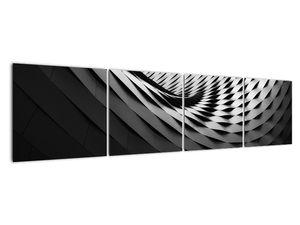 Abstraktní obraz - černobílá spirála (V020667V16040)