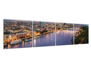 Obraz nočného mesta Bratislavy s riekou (V020706V16040)
