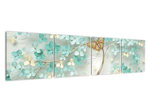 Obraz květiny s motýly (V020716V16040)