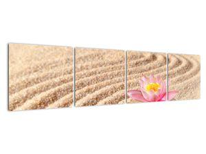 Obraz kameňa s kvetinou na piesku (V020864V16040)