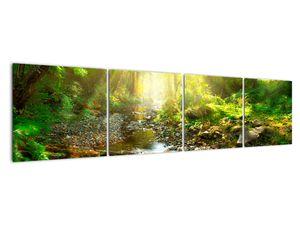 Obraz řeky v zeleném lese (V020942V16040)