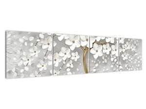Obraz bílého stromu s květinami (V020977V16040)