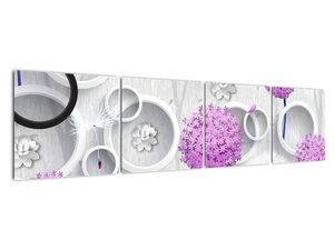 Tablou cu abstracție 3D cu cercuri și flori (V020981V16040)