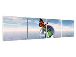 Obraz motýla na skleněné kouli (V021198V16040)