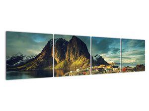 Obraz rybářské vesnice v Norsku (V021280V16040)