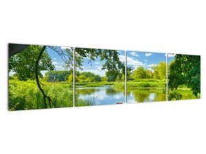 Slika ljetne rijeke s brodicom (V021977V16040)