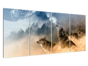 Obraz - vlci vyjúci na mesiac (V020509V16080)