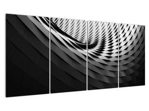 Abstraktní obraz - černobílá spirála (V020667V16080)