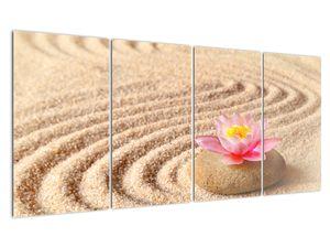 Obraz kameňa s kvetinou na piesku (V020864V16080)