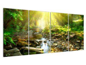 Obraz řeky v zeleném lese (V020942V16080)