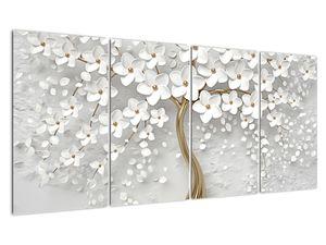 Obraz bílého stromu s květinami (V020977V16080)
