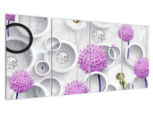 Tablou cu abstracție 3D cu cercuri și flori (V020981V16080)