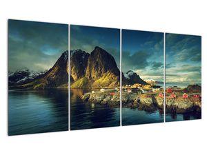 Obraz rybářské vesnice v Norsku (V021280V16080)