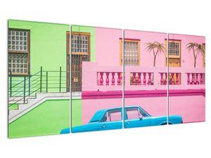 Obraz auta - barevné domy (V021582V16080)