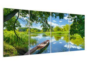 Slika ljetne rijeke s brodicom (V021977V16080)