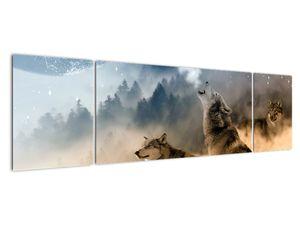 Obraz - vlci vyjící na měsíc (V020509V17050)