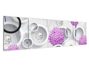 Tablou cu abstracție 3D cu cercuri și flori (V020981V17050)