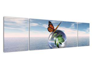 Obraz motýla na skleněné kouli (V021198V17050)