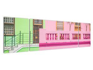 Obraz auta - barevné domy (V021582V17050)