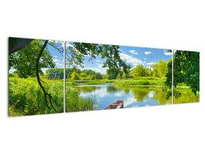 Slika ljetne rijeke s brodicom (V021977V17050)