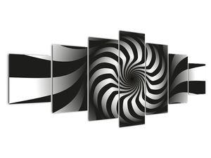Abstraktní obraz černobílé spirály (V020831V210100)