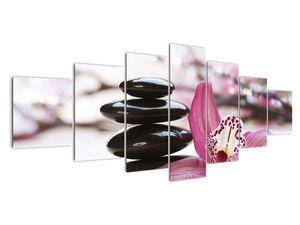 Obraz masážních kamenů a orchidee (V020910V210100)