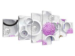 Tablou cu abstracție 3D cu cercuri și flori (V020981V210100)