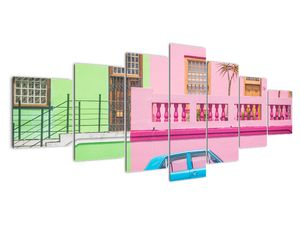 Obraz auta - barevné domy (V021582V210100)